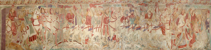 Panoramic image of the medieval frescoes Stock Photo