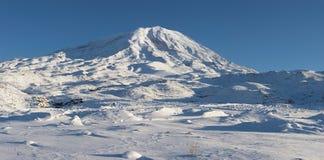 Panoramic image of Mount Ararat in winter. Mount Ararat (Agri Dagi) in winter. Panorama was shot from abandoned Elikoy village, altitude 2250m. Mount Ararat is Stock Images