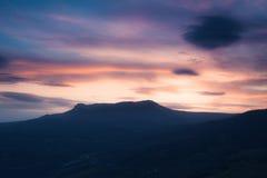 Panoramic image of mountain ridge at sunset Stock Images