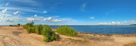 Panoramic image of a mouth of Swina river in Swinoujscie, Poland Stock Photo