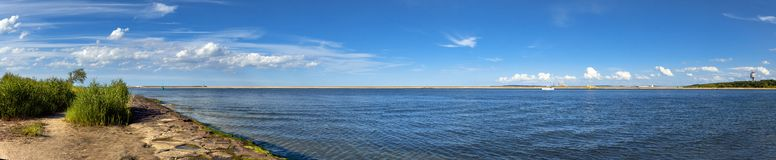 Panoramic image of a mouth of Swina river in Swinoujscie, Poland Royalty Free Stock Image