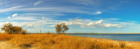 Panoramic image of a mouth of Swina river in Swinoujscie, Poland Stock Photos