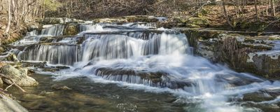 Stony Creek Clove Falls Panorama. Panoramic image of a multi-tiered waterfalls on Stony Clove Creek in Greene Country in the Catskill Mountains in Edgewood, New Stock Photo