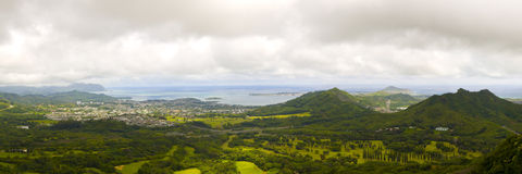 Panoramic image of a narrow tropical valley Stock Photography