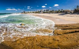 Panoramic image of ocean waves on a Kings beach, Caloundra, Aust Royalty Free Stock Image
