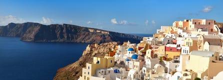 Panoramic image of Oia village, Santorini island, Greece Royalty Free Stock Photography