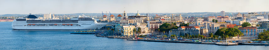 Panoramic image of Old Havana including historic buildings and a modern cruise ship Royalty Free Stock Image