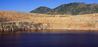 Panoramic Image of an Open Pit Copper Mine Stock Photos