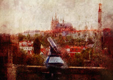 Panoramic image of Prague vector illustration