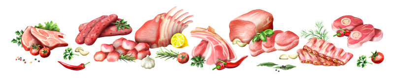 Panoramic image of raw meat. Watercolor Royalty Free Stock Images