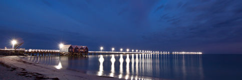 Panoramic image of the restored Busselton Jetty, Pre-dawn. A long exposure taken while waiting for the Sun to rise stock photos