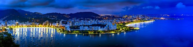 Panoramic image of Rio de Janeiro seen from above at night Stock Photo