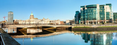 Panoramic image of river Liffey in Dublun with two Customs house Stock Image