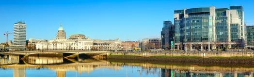 Panoramic image of river Liffey waterfront in Dublun Stock Photo