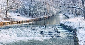 Panoramic image of a river in the snow. Germany. Baden Baden Stock Images
