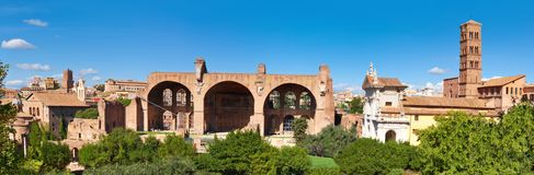 Panoramic image of ruined Basilica of Maxentius and Constantine. Forum Romanum in Rome, Italy Stock Images