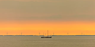 Panoramic image of a sailing boat at the Dutch Markermeer Royalty Free Stock Photography