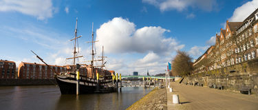 Panoramic image with sailing ship. In bremen (Germany Royalty Free Stock Images