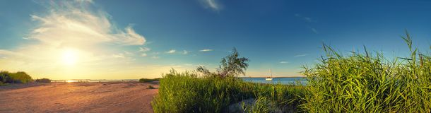 Panoramic image of a seaside by lighthouse in Swinoujscie, Polan Stock Photos