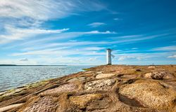 Panoramic image of a seaside by lighthouse in Swinoujscie, Polan Royalty Free Stock Photo