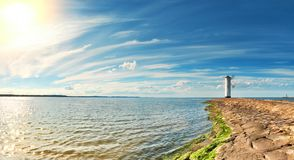 Panoramic image of a seaside by lighthouse in Swinoujscie, Polan. Panoramic image of a seaside by lighthouse in Swinoujscie, a port in Poland on the Baltic Sea Royalty Free Stock Photography