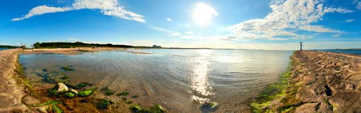 Panoramic image of a seaside by lighthouse in Swinoujscie. A port in Poland on the Baltic Sea Stock Image