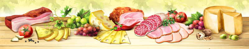 Panoramic image of smoked meat, sausages and cheese. Watercolor Royalty Free Stock Photo
