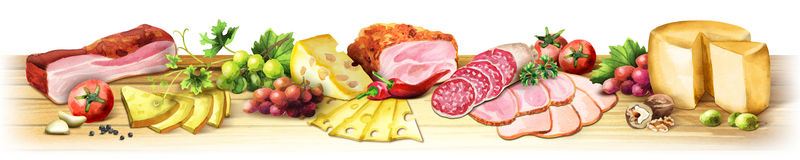 Panoramic image of smoked meat, sausages and cheese. Watercolor. Panoramic image of smoked meat, sausages and cheese. Can be used for kitchen skinali. Watercolor Stock Photography
