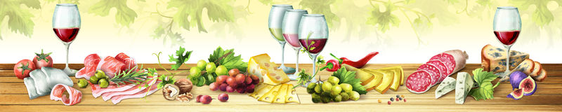Panoramic image of smoked meat, sausages, cheese and wine. Watercolor. Panoramic image of smoked meat, sausages, cheese and wine. Can be used for kitchen skinali Stock Photography