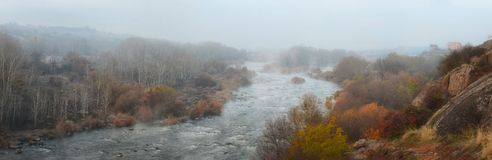 Panoramic image of the Southern Bug River in the autumn foggy morning stock photo