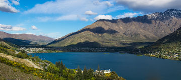Panoramic image of southern New Zealand. Panoramic image of lake Wakatipu, Frankton and the Remarkables Royalty Free Stock Images