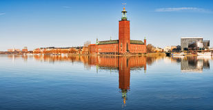 Panoramic image of Stadshuset, Stockholm City-hall. Royalty Free Stock Images