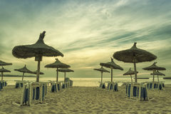 Panoramic image of sunrise on the beach in Mallorca. Europe. Spa Stock Image
