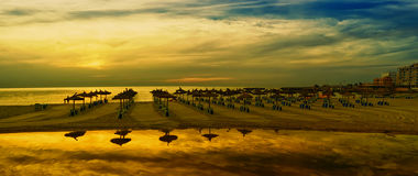 Panoramic image of sunrise on the beach in Mallorca. Europe. Spain Royalty Free Stock Image