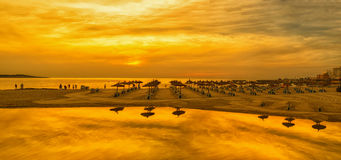 Panoramic image of sunrise on the beach in Mallorca. Royalty Free Stock Image
