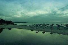 Panoramic image of sunrise on the beach in Mallorca. Stock Photos