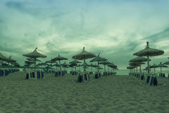 Panoramic image of sunrise on the beach in Mallorca. Royalty Free Stock Photos