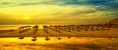 Panoramic image of sunrise on the beach in Mallorca. Europe. Spain Royalty Free Stock Images