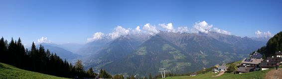 Panoramic image of the Texel Group in South Tyrol Stock Image