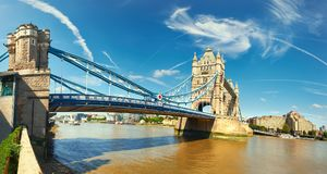 Panoramic image of Tower Bridge in London on a bright sunny day Stock Images