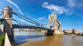 Panoramic image of Tower Bridge in London on a bright sunny day Royalty Free Stock Photography