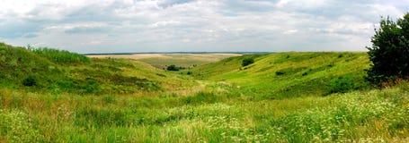 Panoramic image of ukrainian landscape Stock Photos