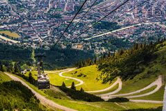 Panoramic Innsbruck cable car. TOP view.