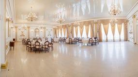 Panoramic interior. Panoramic view of luxury living room interior stock photo