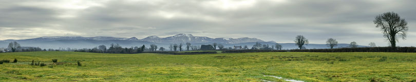 Panoramic irish meadow Royalty Free Stock Photo