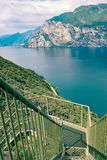 Panoramic iron staircase on Lake Garda. Along the trail from Busatte to Tempesta near the town of Torbole Stock Photography