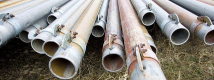 A panoramic of irrigation pipes. Royalty Free Stock Photography