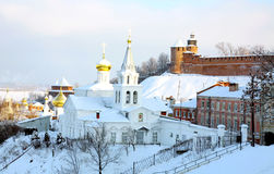 Panoramic January view Church Elijah Prophet and Kremlin Royalty Free Stock Photo