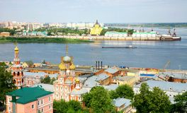 Panoramic july view of Nizhny Novgorod Royalty Free Stock Photos