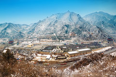 Panoramic of juyongguan great wall. Great Wall, the North of Beijing Great Wall along the famous ancient customs City, state-level cultural relics protection Stock Photography